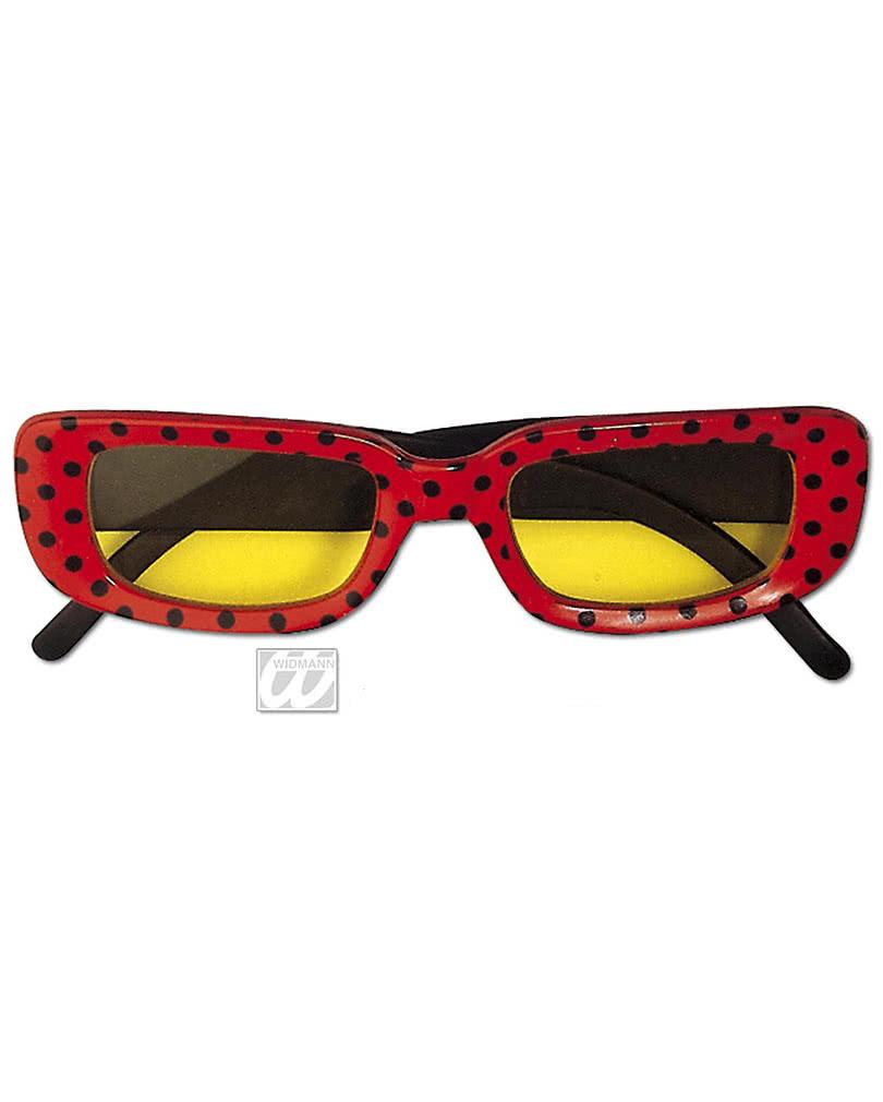 Eckige Disco Brille rot mit Punkten Kostümbrille   Horror-Shop.com