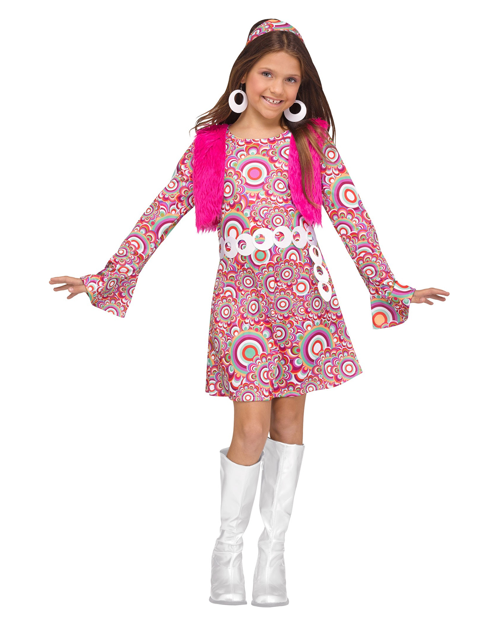 Flower Power Hippie Girl Costume for theme parties  ef0fc379cdf4