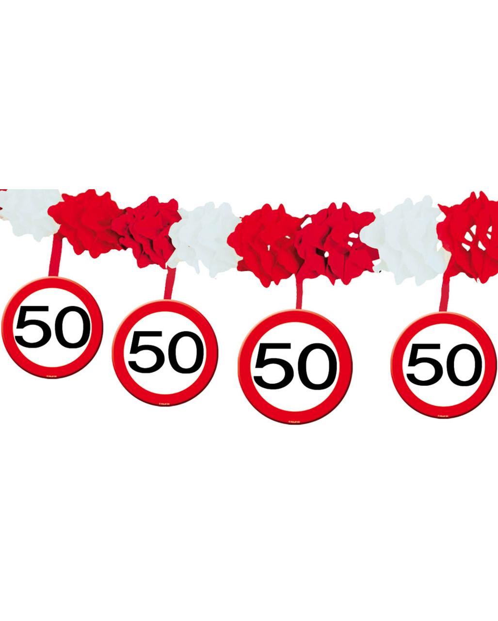 Girlande Verkehrsschild 50 Geburtstags Deko Horror Shop Com