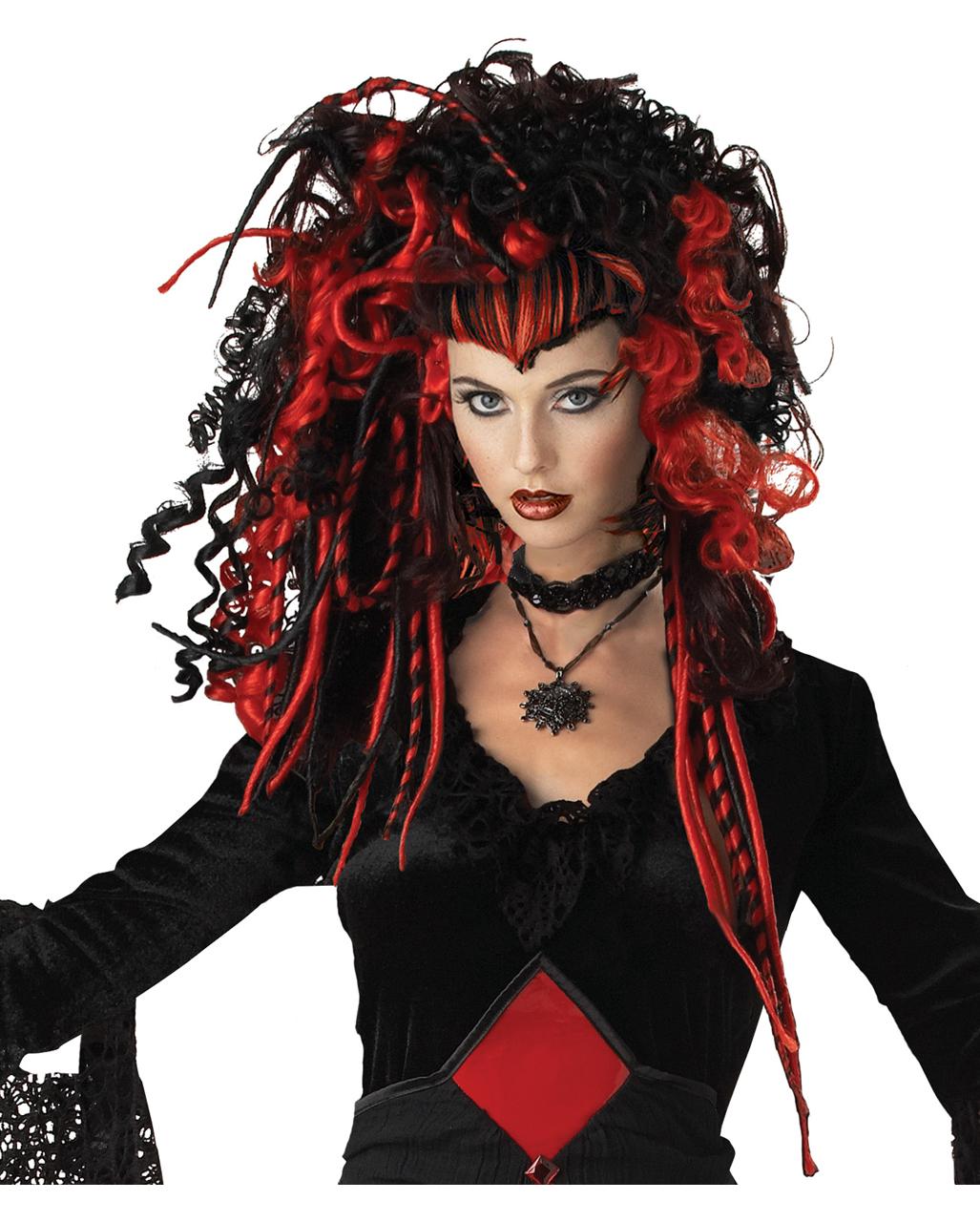 gothic vamp wig black-red halloween wig | horror-shop