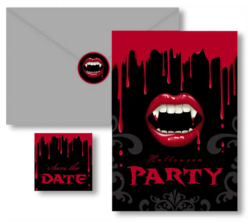 halloween invitation cards vampire bite -invitation cards, Einladungsentwurf