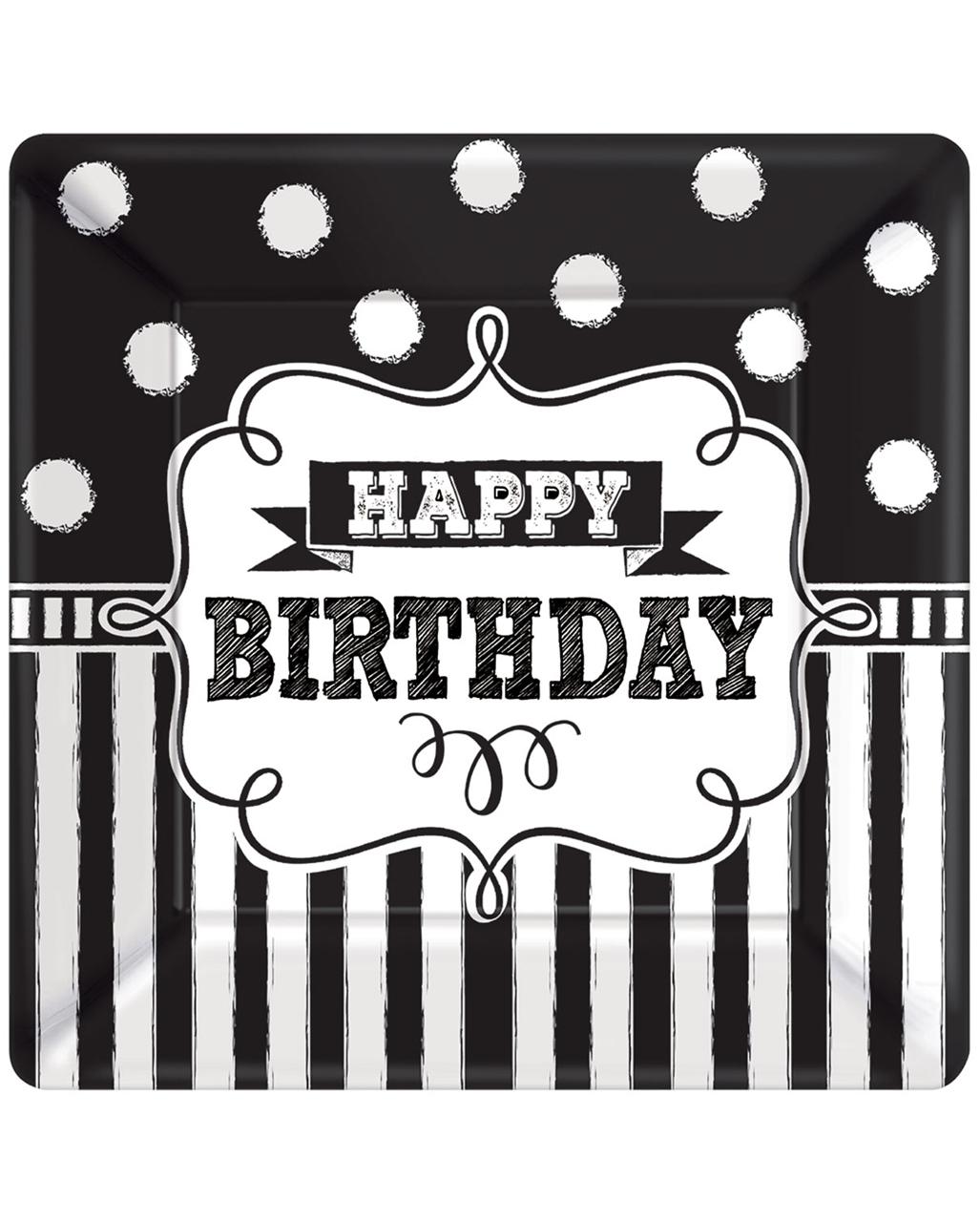 Happy Birthday Paper Plate Black-white 8 Pcs. to buy | horror-shop.com