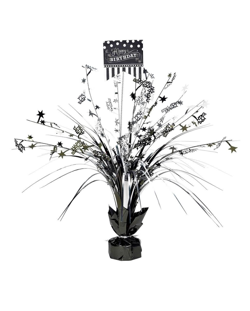Happy Birthday Table Decoration Black Silver