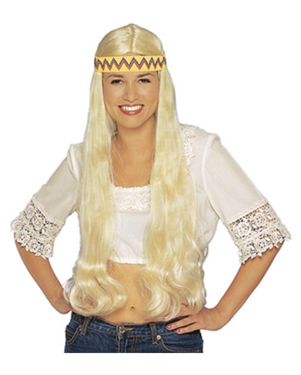 Hippie Perucke Mit Haarband Blond Bei Horror Shop Com
