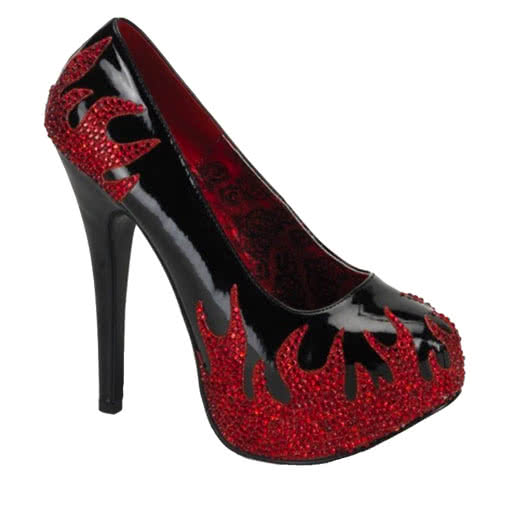 ab6c8ca8cf071b High heels lacquer with flame Burlesque Pinup Shoes
