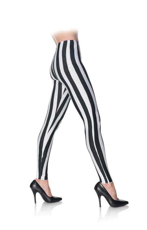0849658a230117 Leggings Black And White Striped for Halloween   horror-shop.com