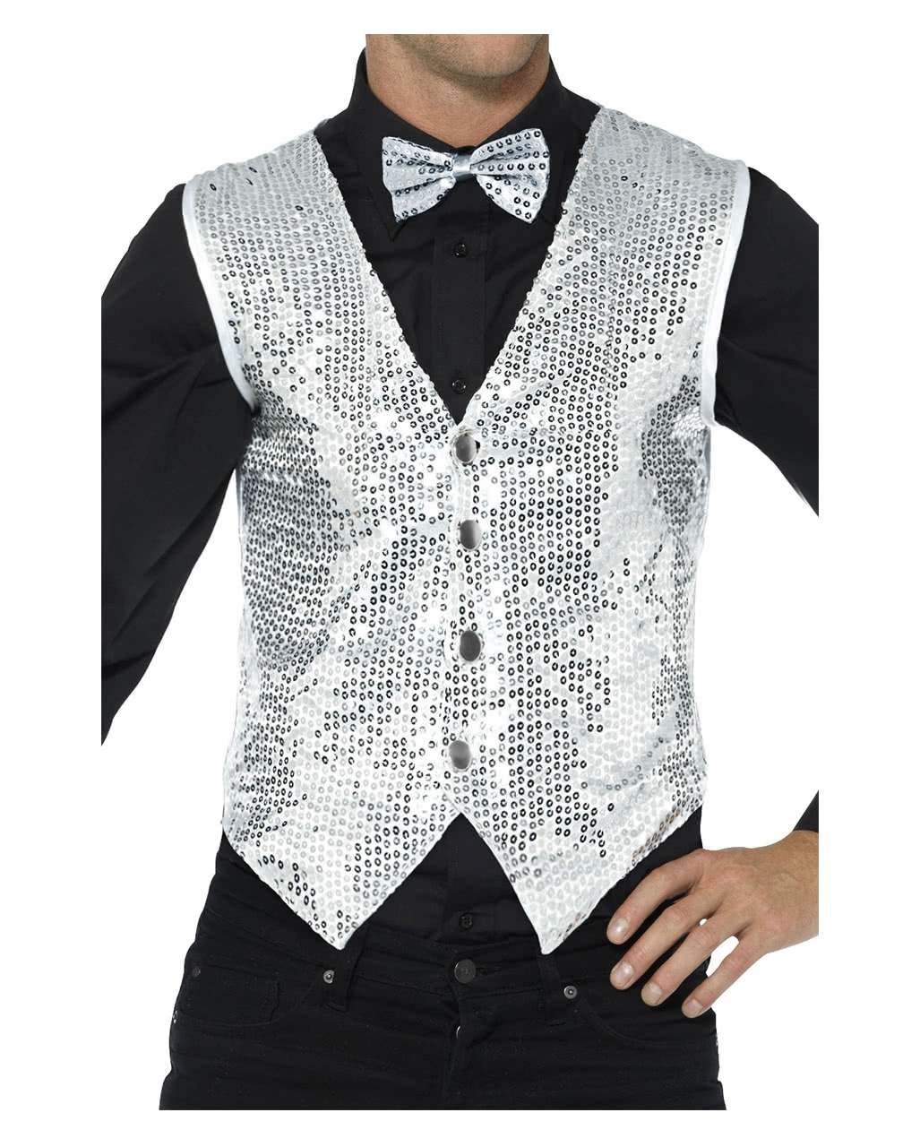35804613d9a Sequined Vest For Men Silver
