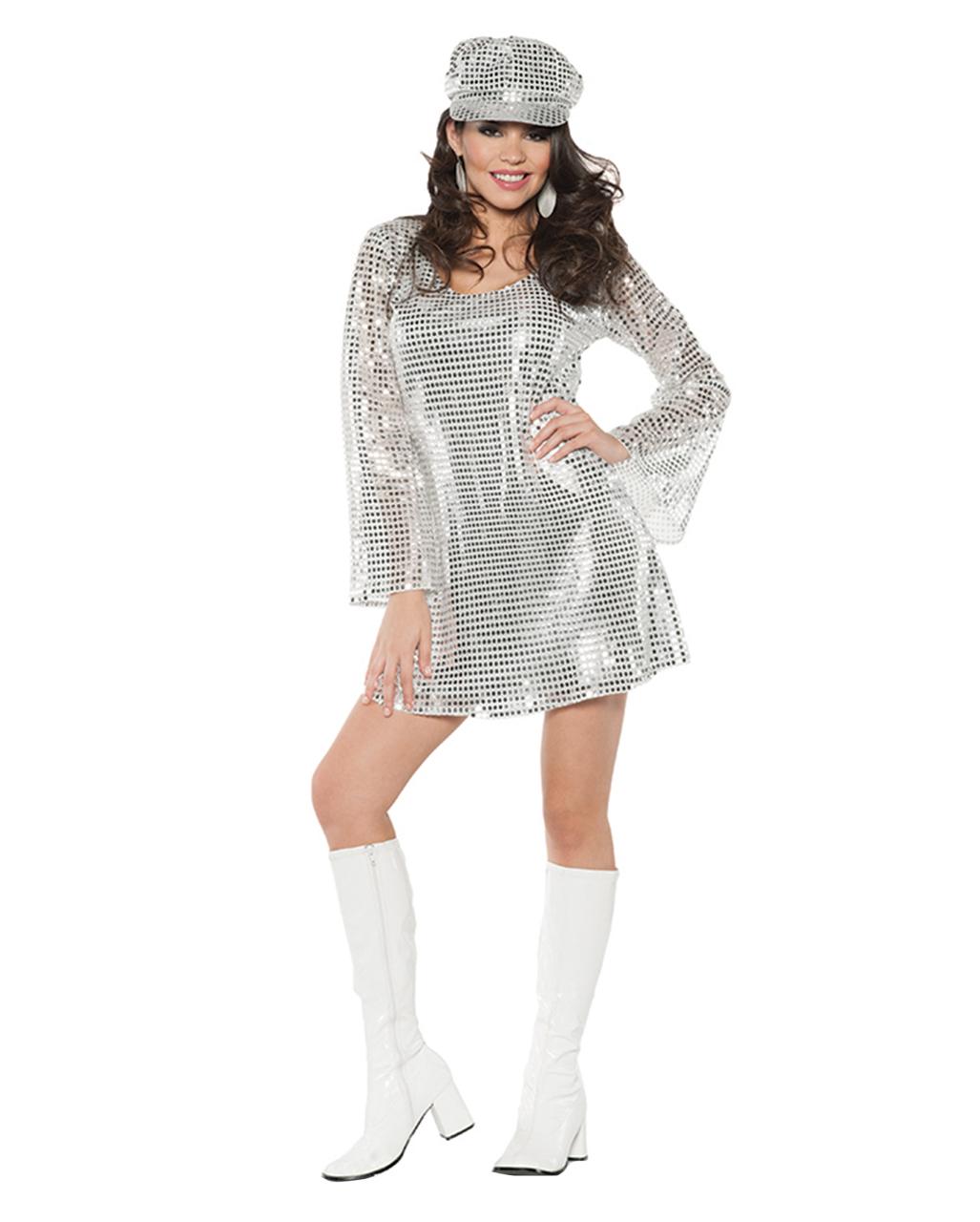 Pailletten Kleid mit Mütze silber bestellen   Horror-Shop.com