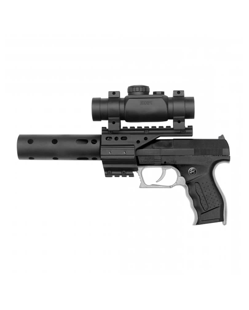 pb 001 police sek pistol with silencer scope toy gun
