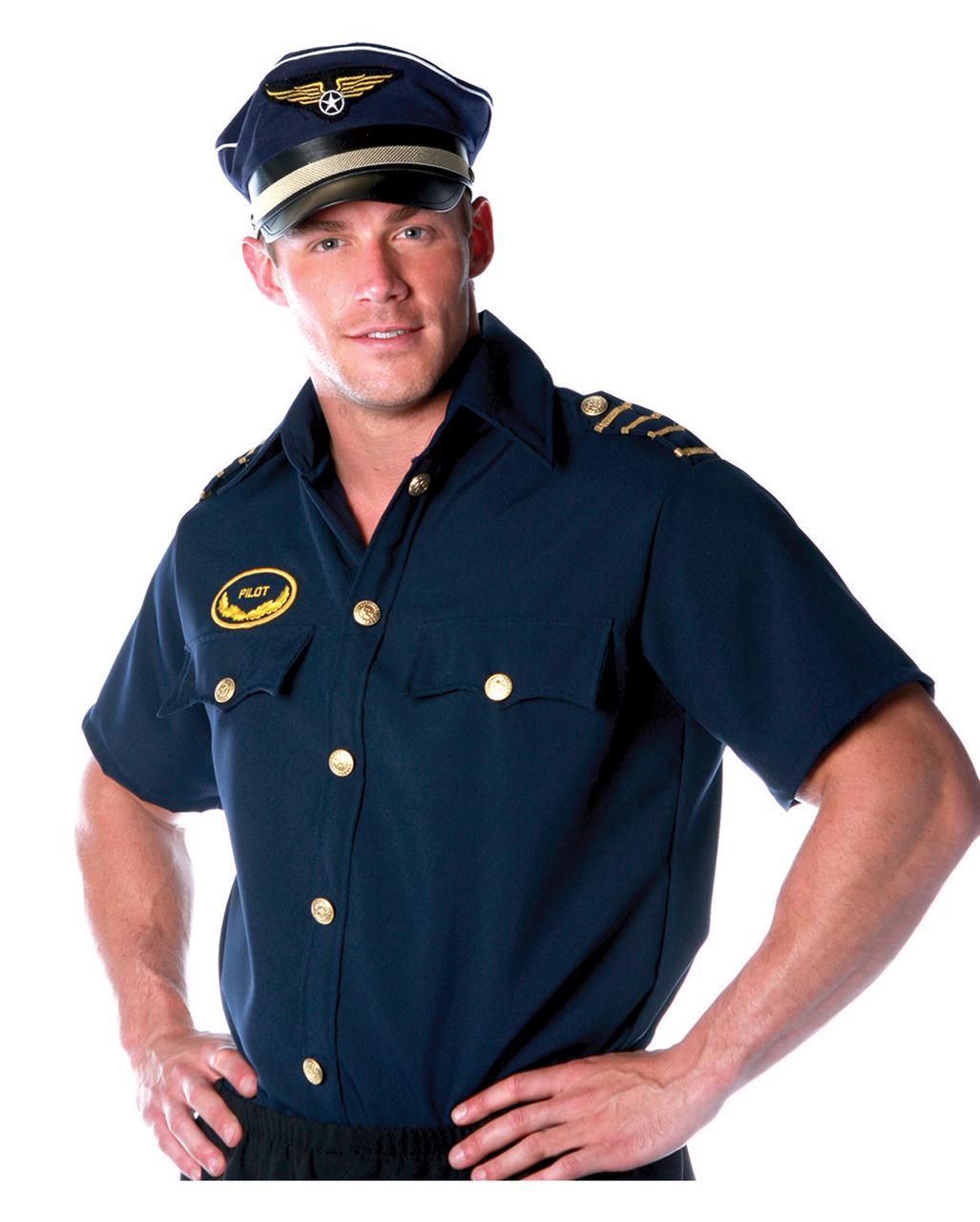 fc1ee149 Pilot Shirt Costume Size L Pilots shirt-aircraft commander pilot uniforms    horror-shop.com