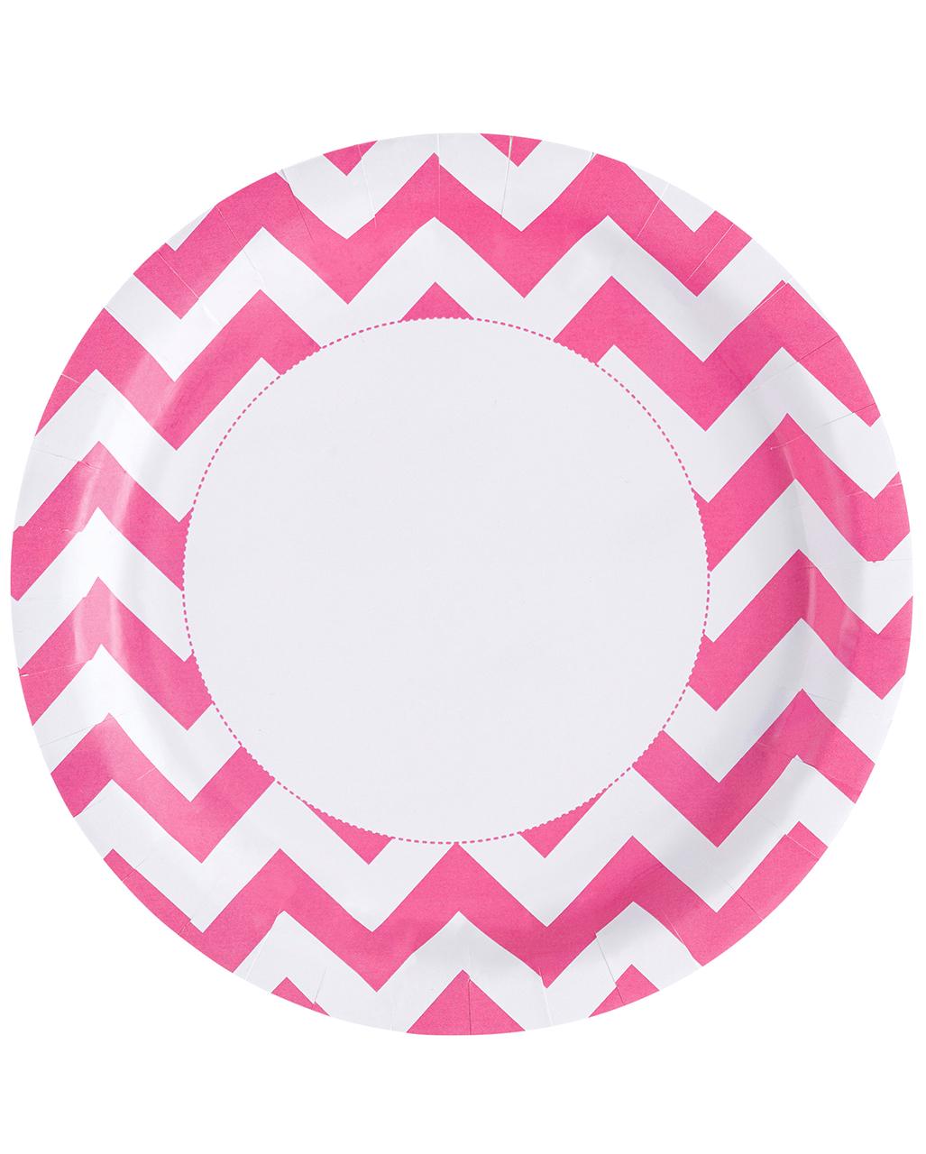 sc 1 st  Horror-Shop & Pink Chevron Paper Plates 8 pc. | horror-shop.com