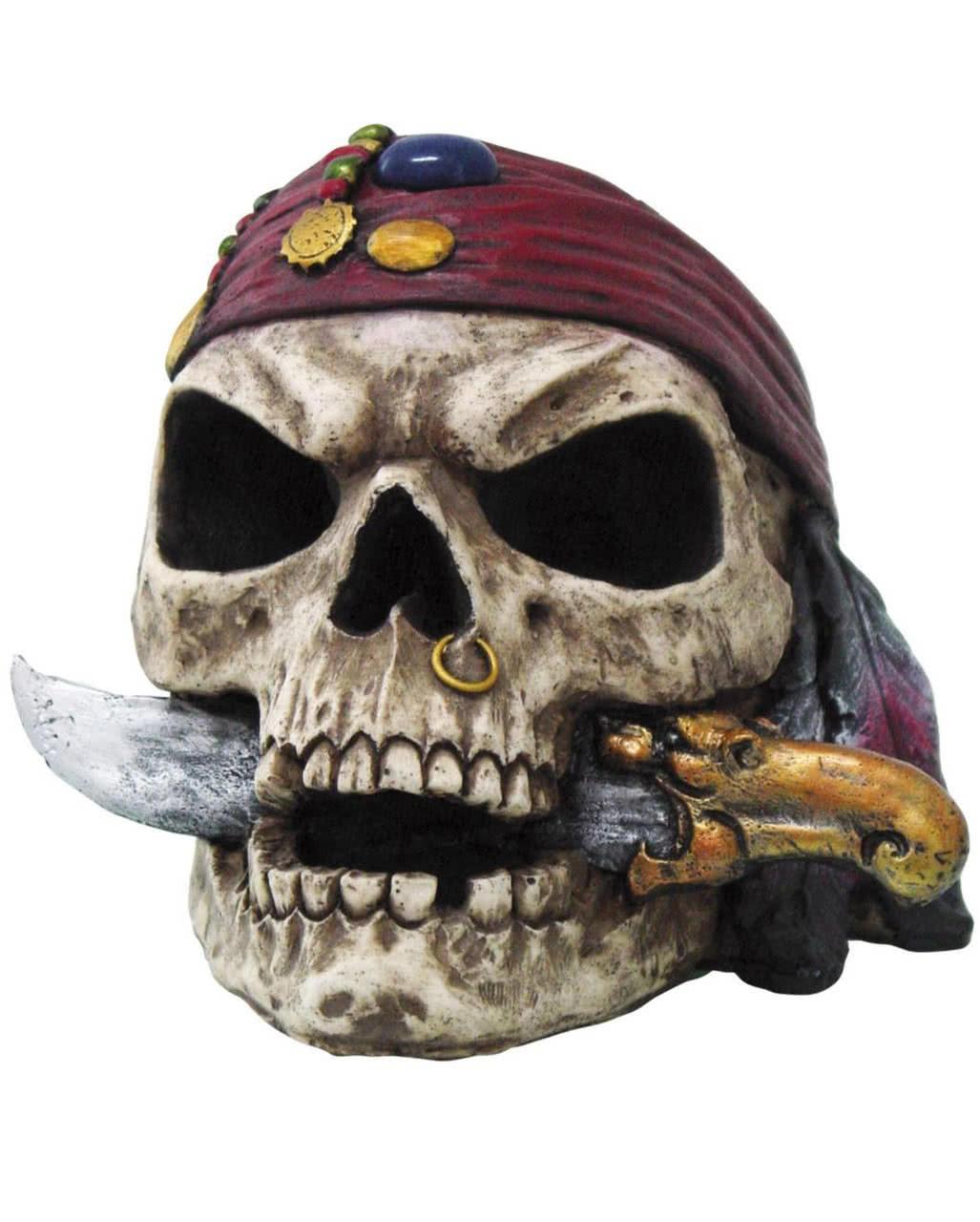 Piraten-Totenkopf mit Dolch als Gothic Deko | Horror-Shop.com
