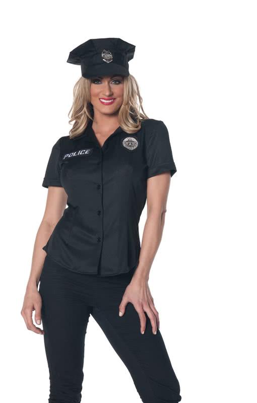 Policewoman Shirt Plus Size Black Uniform Shirt Plus Size Horror