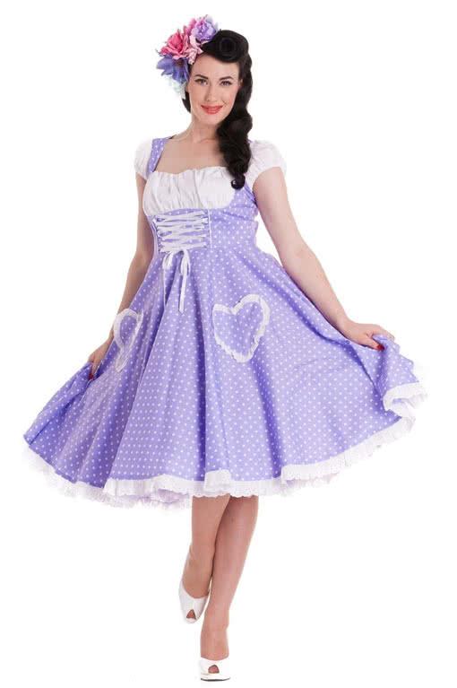 Vintage Dirndl flieder   Rockabilly Kleid  50er Jahre Mode   Horror ...