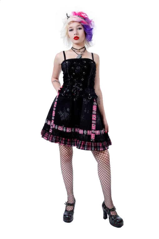 Punk Minikleid Pink Large Punk Minikleid karo Mini Kleid Punk Kleid ...