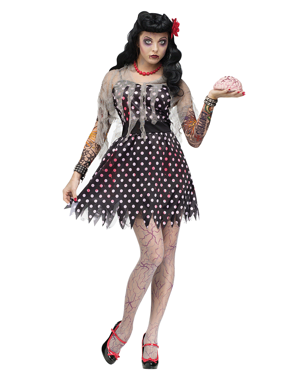 Rockabilly Zombie Kostüm Zombie Rocknroll Tänzerin Kleid