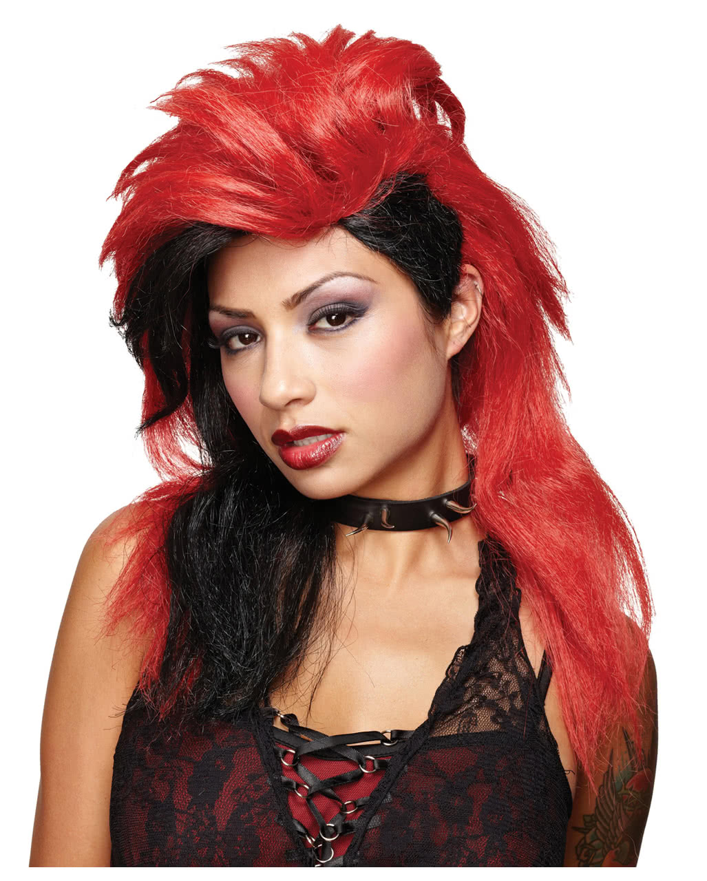 Punk Rock Perucke Rot Schwarz Fur Karneval Horror Shop Com