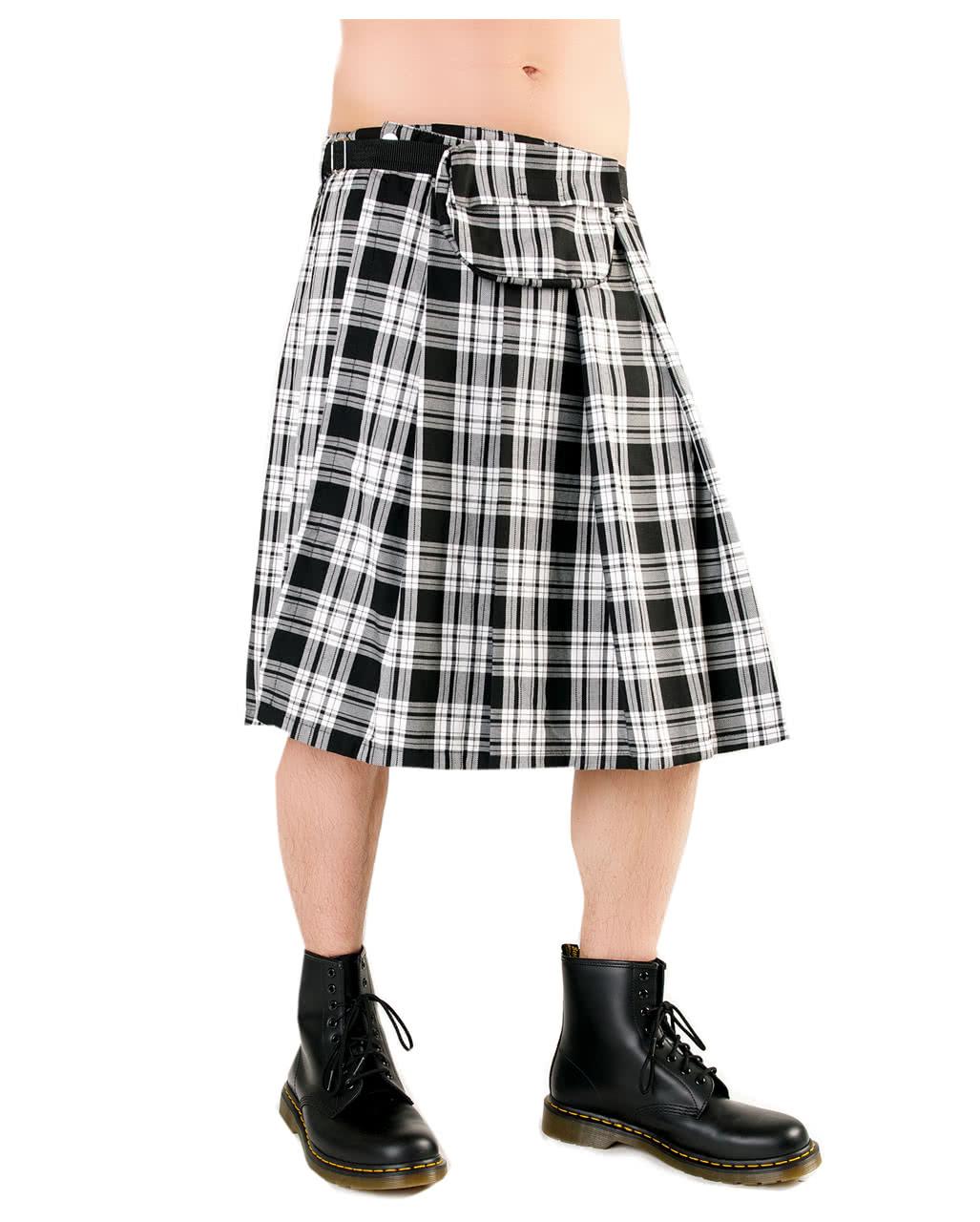 4874feee2 Short Kilt Black Pistol Tartan black / white to buy | horror-shop.com