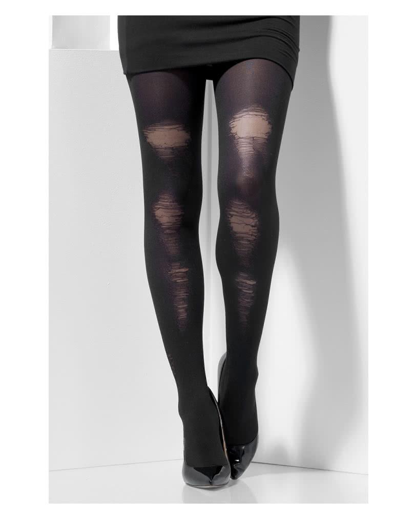 b940b3fffdb Black Pantyhose In Hole Look | Gothic stockings for Halloween |  horror-shop.com
