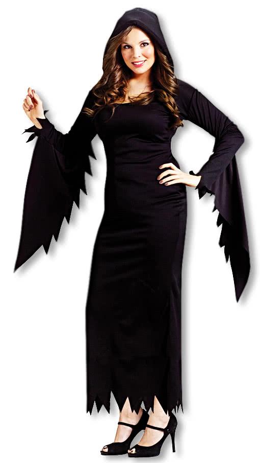 Schwarzes Kostum Kleid Mit Kapuze Xxl Fur Halloween Horror Shop Com