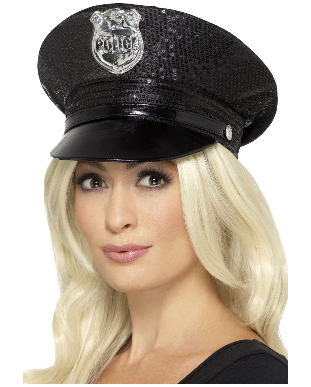 65276a8ebf76f2 Sexy police cap with sequins For carnival | horror-shop.com