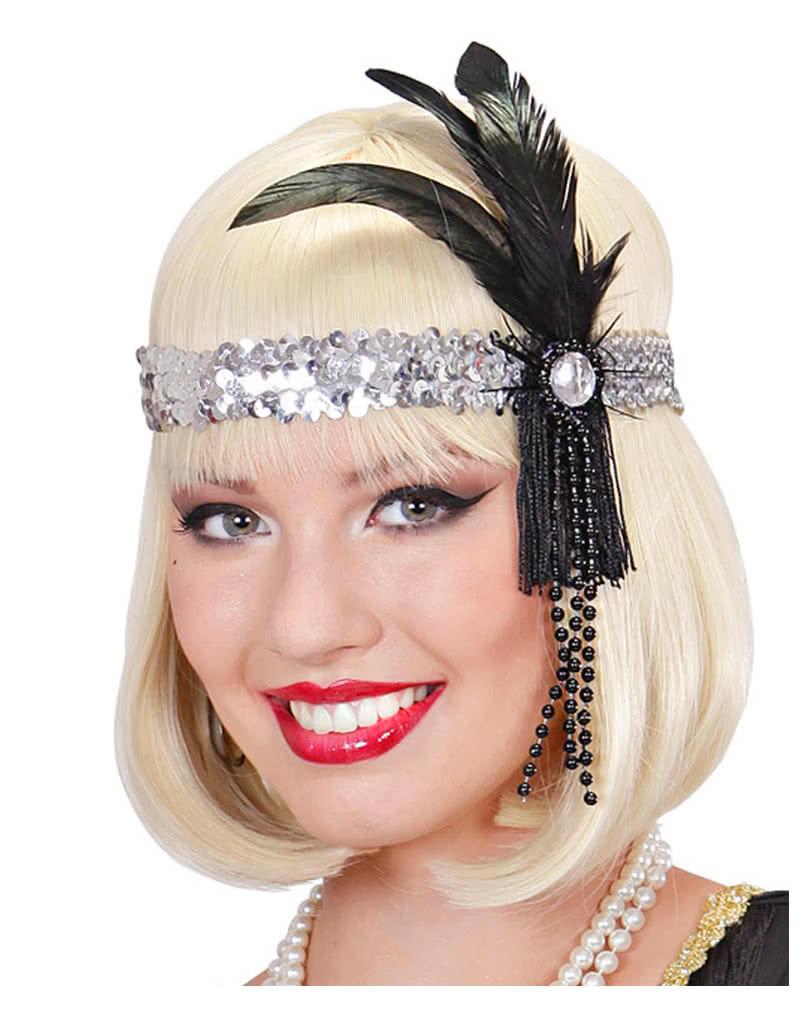 Flapper Headband silver with black feather  e3e860ad05bf