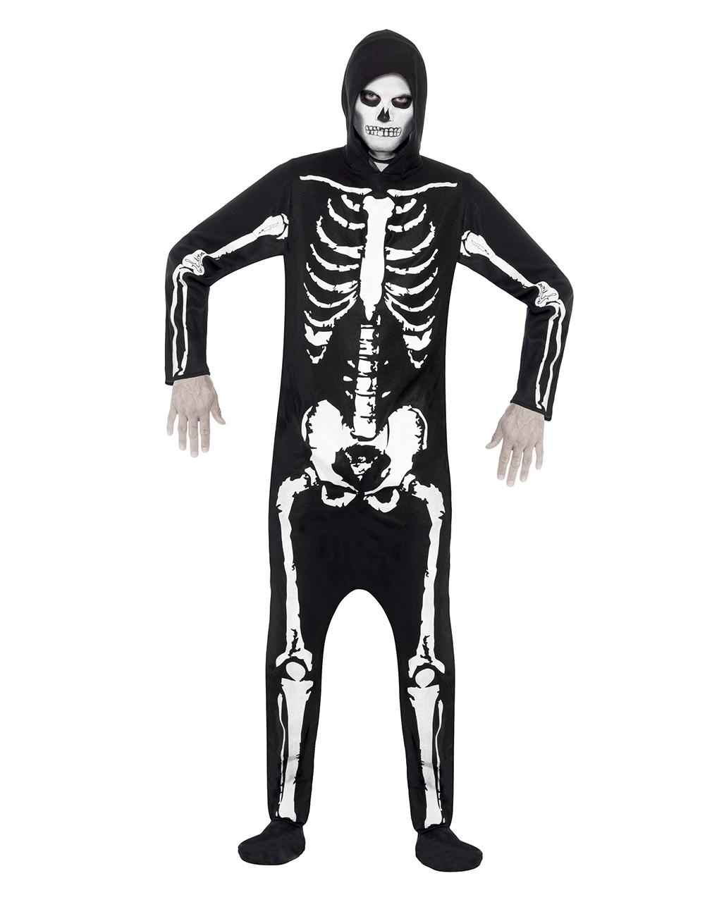 Skeleton costume with hood  sc 1 st  Horror-Shop.com & Skeleton costume with hood | Black jumpsuit with skeleton motif ...