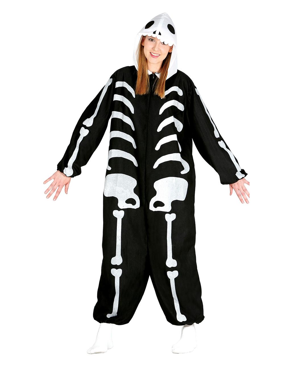 skelett onesie damen mit kapuze