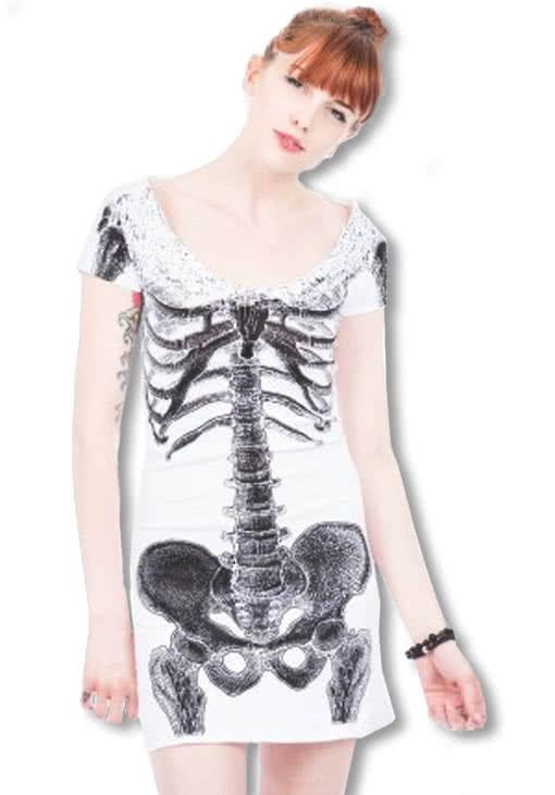 Skelett Shirtkleid weiß -Punk Kleid-Skelettkleid | Horror-Shop.com