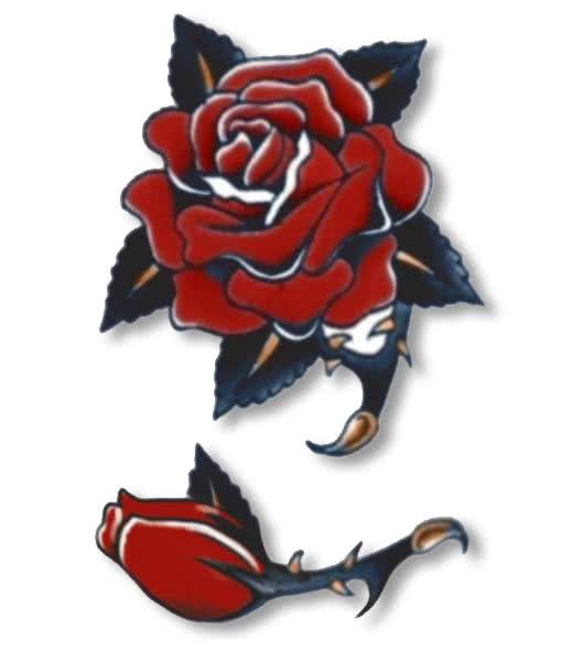 Rose Old School Tattoo Stick On Tattoo Horror Shopcom