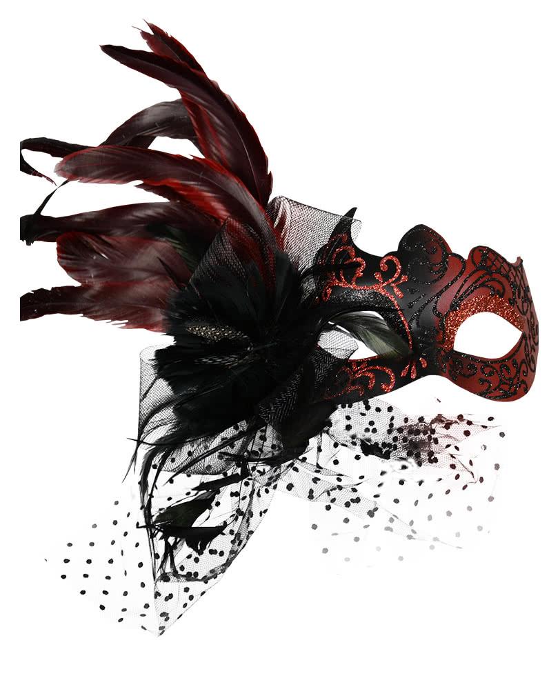 Venezianische Augenmaske mit Federn Rot für den Halloween Ball ...