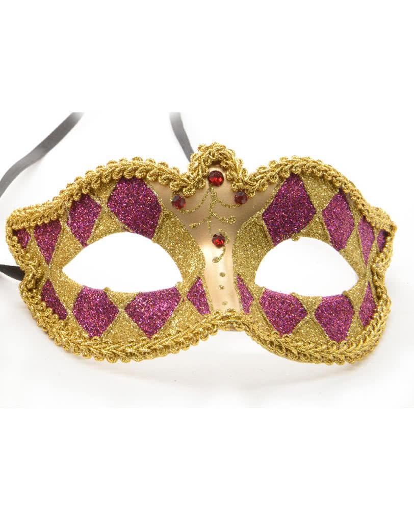 Venezianische Harlekin Maske gold/violett | Kunstvoll gestaltete ...