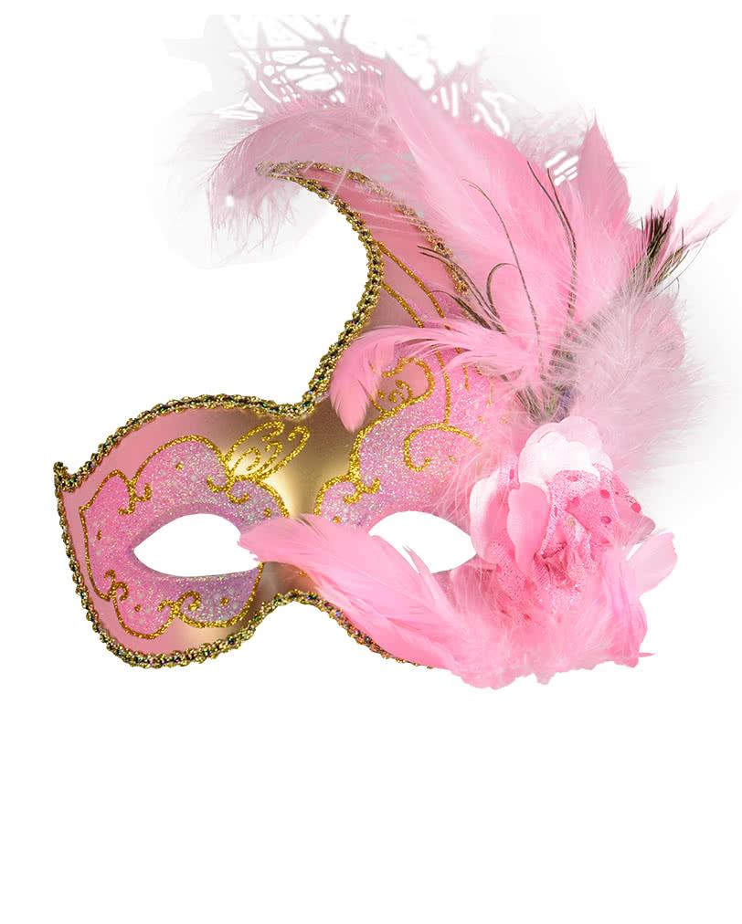 Venezianische Maske mit Federn pink/gold | Pinke Maske für ...
