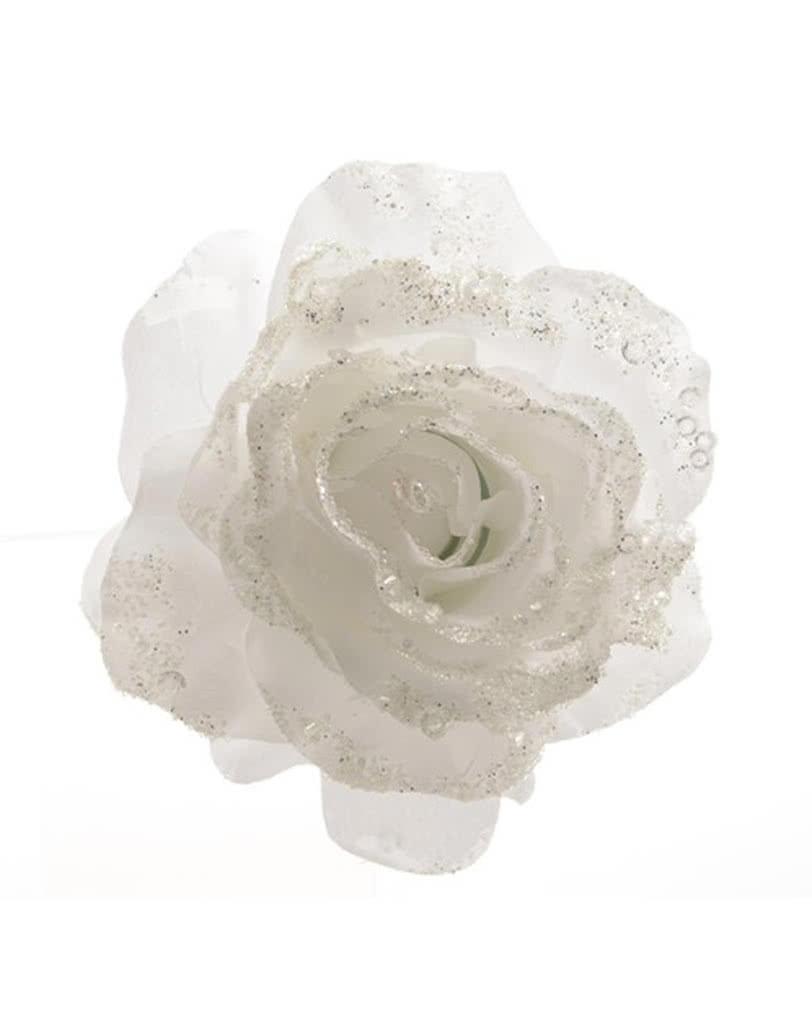 glitzernde deko rose mit clip weiß | festlicher glitzerschmuck