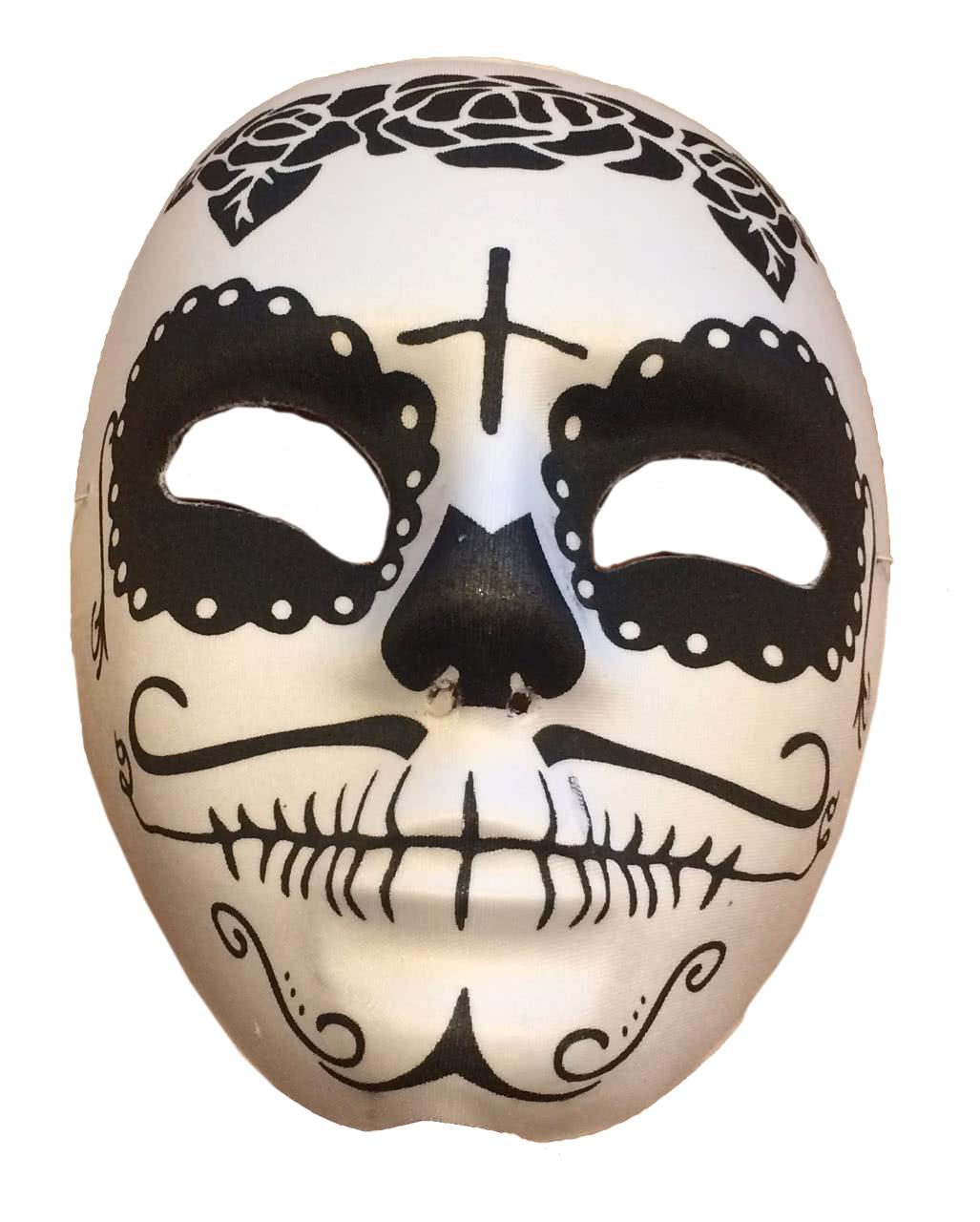 Sugar Skull Mask Black / White Day of the Dead mask   horror-shop.com