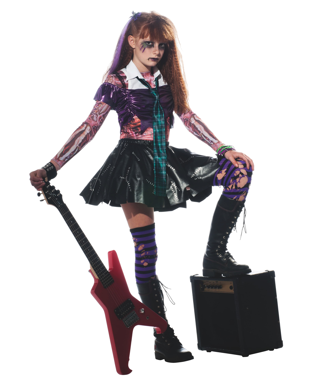 Zombie Punk Rocker Girl Costume  sc 1 st  Horror-Shop.com : rocker chick halloween costume  - Germanpascual.Com