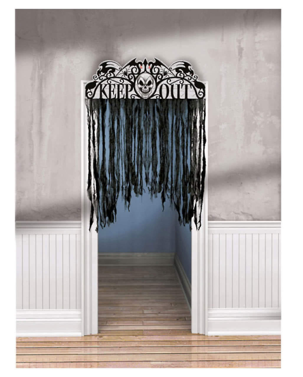 Spooky Door Curtain Spooky Door Curtain  sc 1 st  Horror-Shop.com & Spooky Door Curtain |Haunted Door Curtain|Keep Out Warning ... pezcame.com