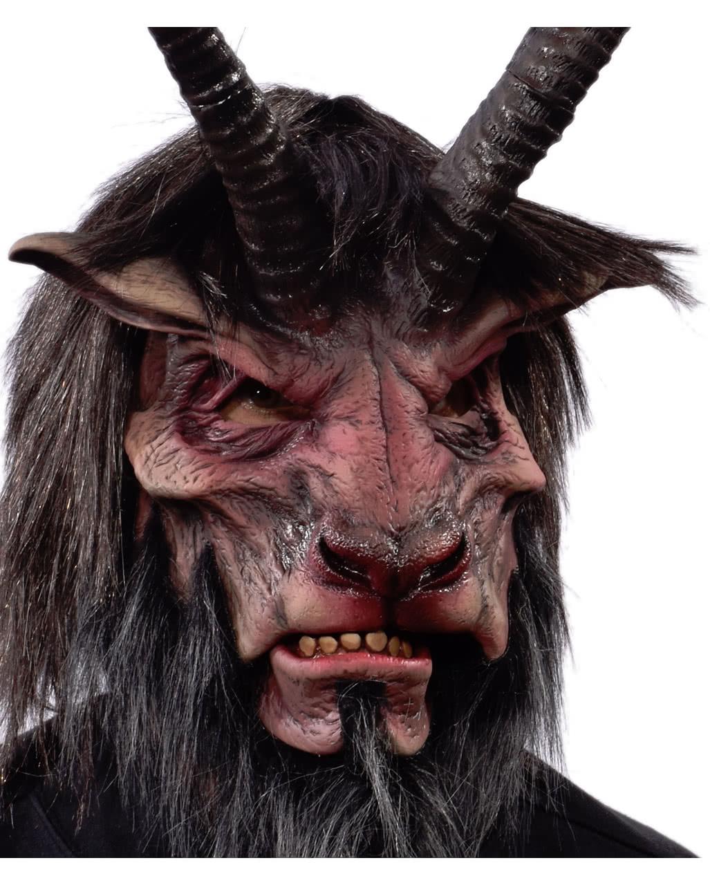 Krampus costume for sale - Horned Krampus Mask With Artificial Fur Horned Krampus Mask With Artificial Fur