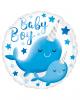 Baby Boy Narwal Folienballon Blau