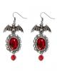 Fledermaus Kostüm Ohrringe mit Roten Schmuckstein