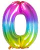 Folienballon Zahl 0 Regenbogen