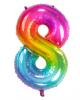 Folienballon Zahl 8 Regenbogen