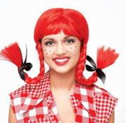 Rote Hilly Billy Girl Zopfperücke