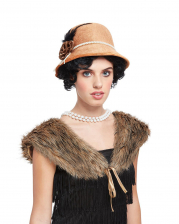 20's Fake Fur Stole With Bell Hat
