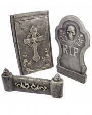 3-tlg. Grabstein Set mit Skull & Kreuz