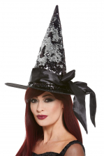 Witch Hat With Wende Sequins In Silver-Black