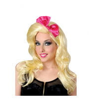 80s popstar wig with pink bow