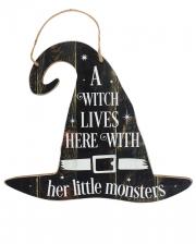 A Witch Lives Here Hexenhut Schild 35cm