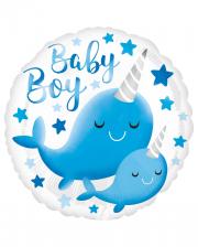 Baby Boy Narwal Foil Balloon Blue