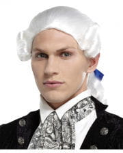Baroque Man's Wig With Braid White